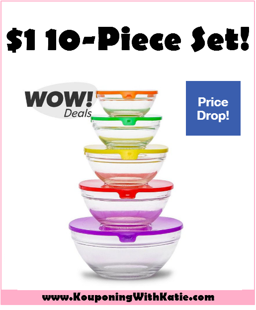 Run hot hot hot 10 piece glass bowl set w lids for Alpine cuisine glass bowl set
